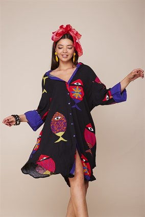 19.0060 BOHO FISH PATTERN VISCOSE DRESS