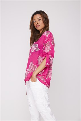 8A1579 FLOWERED SCALED SHIRT