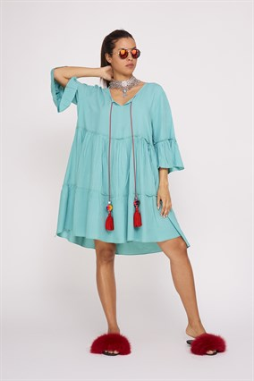ADN140 SHORT BOHO FRINGED DRESS